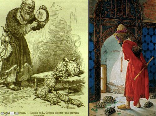 Osman Hamdi Bey'in soldaki resimden etkilendiği iddia edilmektedir